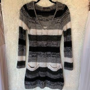 Ultra Flirt Gray White Stripe Sweater Dress Size M